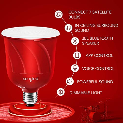 Sengled Pulse LED Smart Bulb with JBL Bluetooth Speaker, App Controlled Up to 8 BR30 LED Light Bulbs with Starter Kit, E26 Base, Compatible with Amazon Alexa, Candy Apple Red, 2 Pack