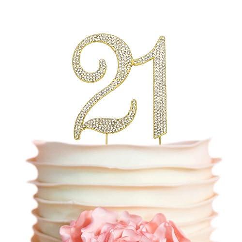 21 GOLD Cake Topper