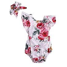 Diamondo 2pcs baby Girls Flower Printed Romper Backless Jumpsuit+Headband