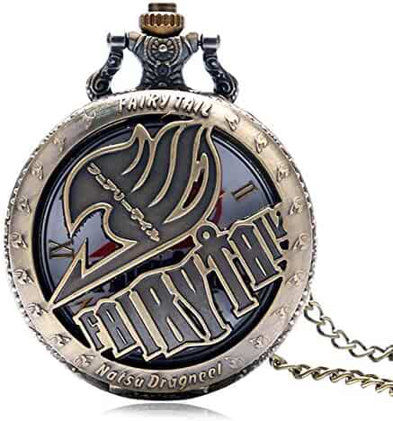 Vintage Animate Fairy Tail Pocket Watch Hollow Natus Dragneel Quartz Watch for Kids Boy Men Gift
