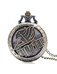 Vintage Animate Fairy Tail Pocket Watch Hollow Natus Dragneel Quartz Watch for Kids Boy Men Xmas Gift