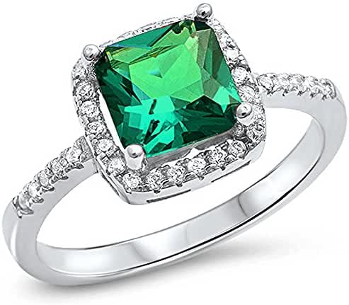 Cushion Cut Simulated Green Emerald & Cz .925 Sterling Silver Ring Sizes 4-10