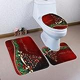 Staron 3pcs Christmas Rug Bathroom Decorative Set Xmas Home Decor Pedestal Rug+Lid Toilet Cover+Bath Mat Decoration Set (G)