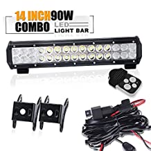 """14"""" Led Work Light Bar W/1Lead Remote Wiring Harness Kit On Grill Rack Bumper Auxiliary Reverse BackUp For Lawnmower Side By Side Off-Road F150 Tractor Polaris Atv Golf Cart Rzr Quad Yamaha Jeep"""