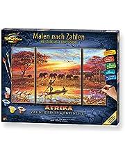 Schipper 609260627 Schilderen op nummers, Afrika, magie van een continent, afbeeldingen voor volwassenen, inclusief penseel en acrylverf, triptychon, 50 x 80 cm