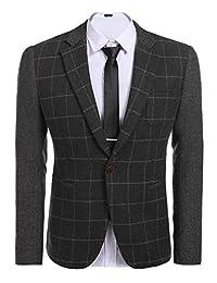 Jinidu Mens Plaid Suit Regular Fit One Button Tweed Blazer Jacket Business Suit