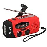 Timorn Solar Hand Crank Self Powered Emergency Radio with LED Flashlight AM/FM Radio Smart Phone Charger Power Bank (Red)