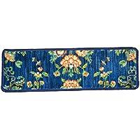 Dean Premium Nylon Carpet Stair Tread Runner Rugs - Katana Blue 30W Set of 15