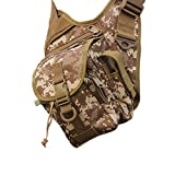 sougayilang Outdoor Sports Multifunction Lure Bag Fishing Rod Tackle Bag Waist Pack Camping Hiking Moutaineering--Earth Camouflage