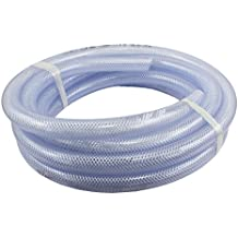 "Duda Energy HPpvc038-100ft 100' x 3/8"" ID High Pressure Braided Clear Flexible PVC Tubing Heavy Duty UV Chemical Resistant Vinyl Hose Water Oil"