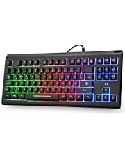 Rii RK104 Gaming Tastatur USB, 88 Tasten, Ergonomische Tastatur, Regenbogen beleuchtete Tastatur, 19 Tasten Anti-Ghosting, Wired Keyboard ideal für Gaming und Büro, Schwarz(DE-Layout)
