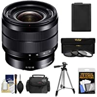 Sony Alpha E-Mount 10-18mm f/4.0 OSS Wide-angle Zoom Lens with Battery + Case + 3 Filters + Tripod Kit for A7, A7R, A7S Mark II, A5100, A6000, A6300