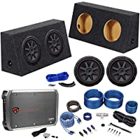 2) Kicker 10 1600w Subwoofers+Mono Amp+Jeep Wrangler Sub Box Enclosure+Wire Kit
