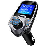 Bluetooth FM Transmitter, TopElek Wireless in-Car Radio Receiver Audio Adapter, Hands-Free Car Kit, Music Player with 2 USB Ports and AUX Input/Output TF Card, 1.44-inch Large Screen, Grey