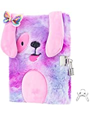 CODACE Plush Dog Secret Diary, Journal with Lock and Key Lined, Gifts for Birthday Pink