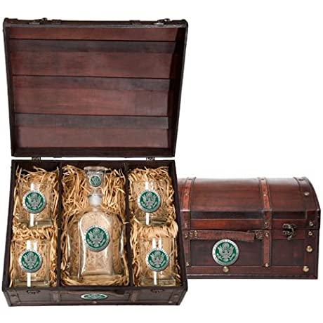 US Army Wood Chest Set With Decanter And 4 Glasses