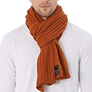 FORBUSITE Men Cable Knit Scarf for Winter Extra Long