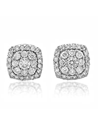 0.50 Carat (ctw) 14K Gold Real Round Cut White Diamond Ladies Cluster Stud Earrings 1/2 CT