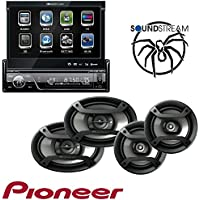 Soundstream VIR-7830B 1 DIN DVD/CD/MP3 Player Flip-Out Up Screen Bluetooth W Pioneer TS-165P + TS-695P Two Pairs 200W 6.5 + 230W 6x9 Car Audio 4 Ohm Component Speakers