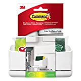 Command 17609-HWEF Under Sink Sponge Caddy, White, 1 Caddy 4 Medium Strips, 1 Scotch-Brite Sponge Included
