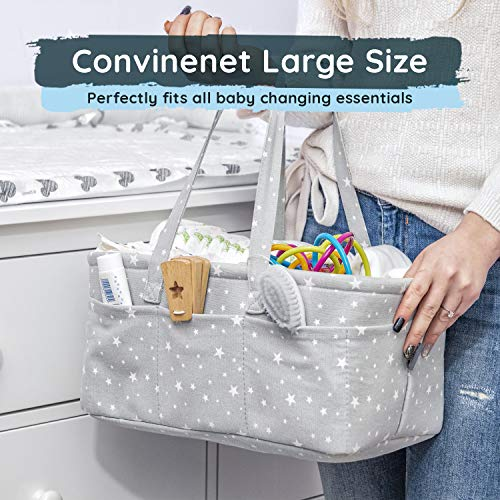 StarHug Baby Diaper Caddy Organizer - Baby Shower Gift Basket | Large Nursery Storage Bin for Changing Table | Car Travel Tote Bag | Newborn Registry Must Have (Diaper Caddy + Bottle Bag)