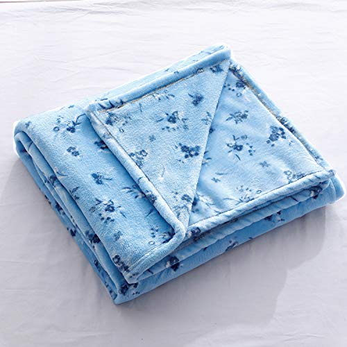 Flannel Throw Blanket for Sofa Couch Bed Blue Flower Blanket Soft Lightweight Cozy Plush Floral Throw for Kids Girls Adults All Season Bedspreads Coverlet Blanket Throw(Blue Flower, Twin)