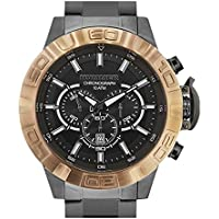 Hummer King Chronograph Watch HU2102-205M Rose Gold Case Dark Silver Stainless Steel Band