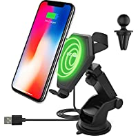 Wireless Charging Car Mount for iPhone X 8 Plus 8 Qi Fast Wireless Charger Stand for Samsung Galaxy Note 8 S8+ S8 S7 Edge S7 Note 5 with Vehicle Air Vent Holder Suction Cup Dashboard Windshield Cradle