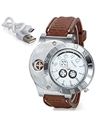 JewelryWe Mens Novelty Quartz Digital Watch with USB Electronic Rechargeable Cigarette Lighter - Brown