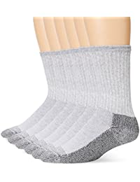 Mens 6 Pk Heavy Duty Crew Socks, 2 Pk (12 Pairs), Grey, 6-12