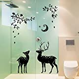 Black Leaves Deers Moon Star Wall Sticker Decal Home Decor PVC Murals Wallpaper House Art Picture Living Room Adult Senior Teen Kids Baby Bedroom Decoration