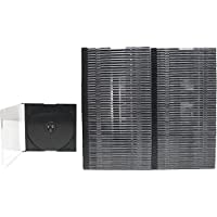 100 x ULTRA THIN 5.2mm Clear CD Jewel Boxes with Built In Black Tray #CDBS52 - HALF THE THICKNESS OF A NORMAL CD JEWEL BOX! by Square Deal Recordings&Supplies
