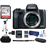 Canon EOS M50 Mirrorless Digital Camera Body -Black (USA Warranty) Bundle, Includes: 64GB SDXC Class 10 Memory Card + Full Size Tripod + Spare Battery + more