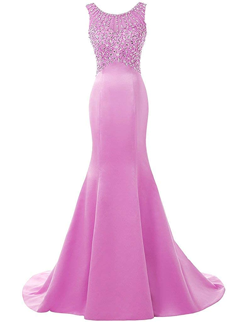 purplec ASBridal Evening Dress Mermaid Prom Party Dress with Crystals Beading Long Satin Formal Evening Gown Backless