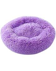 Apostasi Modern Soft Plush Round Donut Pet Bed, Warm Plush Dog Puppy Mat Self Warming Autumn Winter Indoor Snooze Sleeping for Cats or Small Dogs, Mini Medium Sized Dog Cat