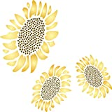 "Sunflower Mural Stencil - (size 7"" x 7"") Reusable Wall Stencils for Painting - Best Quality Mural Wall Art Ideas - Use on Walls, Floors, Fabrics, Glass, Wood, and More…"