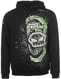 Mens Hoody Zip Hoodie Hooded Top Lightweight Full Print Drawstring All Black/Green X-Large