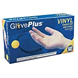 AMMEX - GlovePlus - Vinyl Gloves - Disposable, Powder Free, Food Safe, 4 mil, Small, IVPF42100-BX (Box of 100)