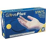 AMMEX - IVPF - Vinyl Gloves - GlovePlus - Disposable, Powder Free, Non-Sterile, 4 mil, Clear