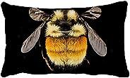Decorative Pillow Cover Case Cotton Polyester Tricoloured Bumblebee Bedding Pillowcase Rectangle 12 x 20 inche