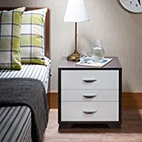ComfortScape 3 Drawer Bedroom Night Stand with Open Shelf for Storage, White & Black, Small