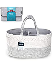 StarHug Baby Diaper Caddy Organizer – Baby Shower Basket with 2 Inner Pockets, Cleanable Interior, 100% Cotton Rope, Eco-Friendly, Large (Diaper Caddy + Portable Changing Pad)