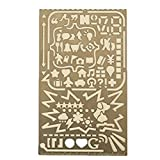 Loghot Multifunctional Stainless Steel Portable Drawing Graffiti Template Tool Ruler, DIY Photo Album 60 Apertures Diary Drawing Stencil Number Alphabet Icon Stencil