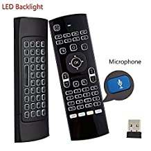 Backlit Air Mouse Keyboard Kodi Remote MX3 Pro, 2.4Ghz Mini Wireless Android TV Control & Infrared Learning Microphone for Computer PC Android TV Box By Dupad Story
