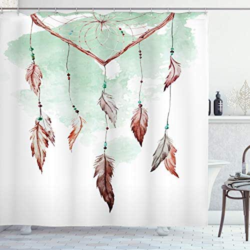 Ambesonne Feather Shower Curtain, Watercolor Vibrant Dream Catcher with Ornamental Elements Traditional Design, Cloth Fabric Bathroom Decor Set with Hooks, 70
