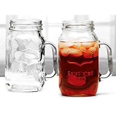 CIRCLE GLASS Mason Jars with Lids and Handles, 32 Oz