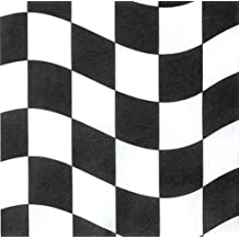 Creative Converting 18 Count Beverage Napkins, Black and White Check (Value 3-Pack)