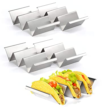 "Taco Holder – Set of 4 Stainless Steel Taco Holder Stand,Tortilla Makers Holds Up to 3 Tacos,8.5"" x 4"" Taco Rack Safe for Oven, Dishwasher and Grill, Perfect To Keep Your Delicious Tacos"