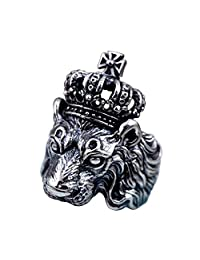 Vintage Black 925 Sterling Silver Royal Lion Crown Statement Ring Jewelry Men Boys