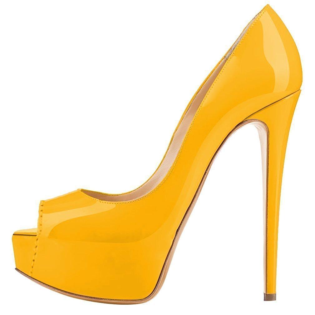 Emiki - Zapatos de Tacón Mujer EU44=28.2cm|amarillo